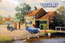 Triumph TR3, Vintage Petrol Station Old British Sports Car, Large Metal/Tin Sign