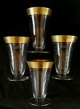 "Antique etched gilt rim glasses 4.25"" [SET OF FOUR]"