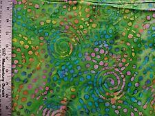 BATIK  TIE DYE PRINT ON GREEN  100% COTTON FABRIC BY THE 1/2 YARD