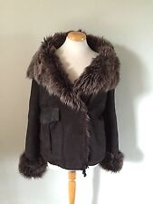 JOSEPH Chocolate Brown Shearling Sheepskin Fur Warm Jacket Coat M 10/12 £1200