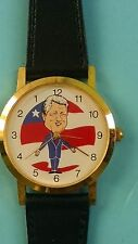 President Bill Clinton Caricature Backwards Running Black Leather Watch New!