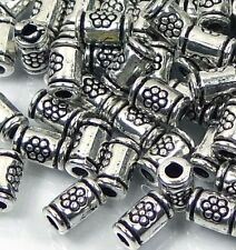 50 Silver Pewter  Imprint Tube Cylinder spacer Beads