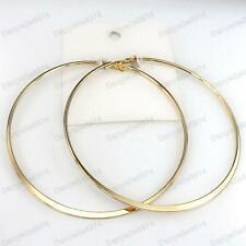 "HUGE 10cm GOLD FASHION HOOPS 4""big circle HOOP EARRINGS thick metal round/flat"