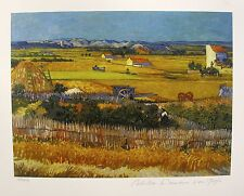VINCENT VAN GOGH Estate Signed Small Giclee HARVEST LANDSCAPE IN ARLES