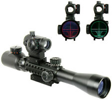 3-9X40 Tactical Rifle Scope with Holographic Red / Green Dot Sight / Rail Riser