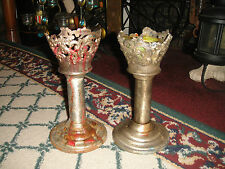 Vintage Gothic Candlestick Holders-Pair-Religious Church Funeral Home-Metal-ODD