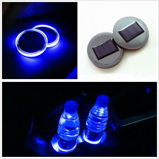 Autos 2in1 Solar Energy Cup Bottle Holder Bottom Pads Blue LED Light Cover Trim