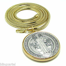 Medalla De San Benito Saint St Benedict Charm Gold Plated Medal Snake Box Chain