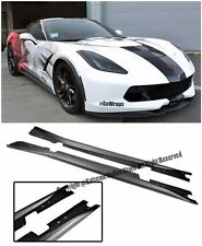 For 14-Up Corvette C7 Stingray Add On Bottom Line Style ABS Plastic Side Skirts