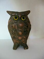 Vtg Mid Century Cryptomeria Wood Carved Bumpy Owl Japan Glass Eyes MINT 3.5""