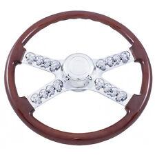 """Kenworth and Peterbilt Chrome Skull 18"""" Steering Wheel Semi Truck Skull Spokes"""