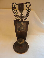 An Original WW1 Military Brass Metal Trench Art Candle Stick French Photo (3236