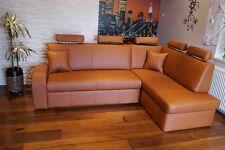 Echtleder Ecksofa  Echt Leder + Kopfstützen Eck Sofa Couch mit Bettfunktion
