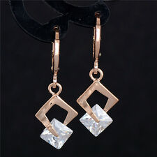 Exquisite 18K gold filled shiny cubic zirconia lucky lady's dangle earring