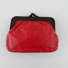 Vintage Red Leather Italy Small Frame Clutch Coin Purse Darling!