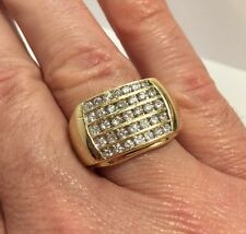 Mens 14k Yellow Gold 1 1/2 Carat Ct Diamond Wedding Estate Large 585 Ring 10 3/4