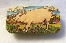 Vintage Tin Pill Box Sliding Lid Pig Farm Scene Potpourri Press USA Made 2""