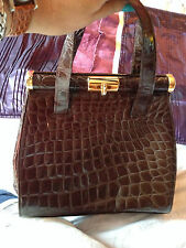 L K BENNETT genuine brown handbag MOCK CROC  PATENT faux leather gold trim bag