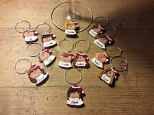 wine glass charms Christmas Dinner Table Name Personalised Place settings One