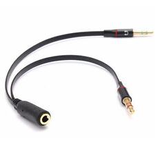 3.5mm AUX Audio Mic Splitter Cable Earphone Headphone Adapter Female to 2 Male T