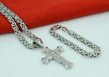 "24""MEN Stainless Steel 8mm Silver Necklace Star Cross Pendant Chain Bracelet Set"