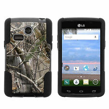 For LG Sunrise / Lucky Shell Black Stand Silicone Hard Case Tree Bark Camo