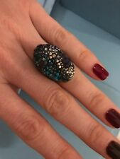AUTHENTIC SWAROVSKI Signed Purple Green NIGHTTIME Ring Sz58 Large