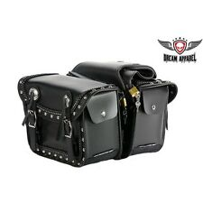 Waterproof Motorcycle Saddlebag With Quick Release & Studs