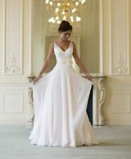Flower Chiffon Wedding Dress V-Neck Bridal Gown Custom Size 6 8 10 12 14 16 18