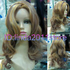 NEW lady Long Curly Brown Blonde Mixed Cosplay party lady's wigs + wig cap