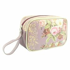 MAKE UP COSMETIC BAG OIL CLOTH 2 ZIPPED POCKETS ROSE GARDEN RANGE BY LEONARO