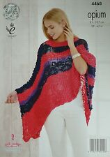 KNITTING PATTERN Womens Long Striped Poncho Opium 4468