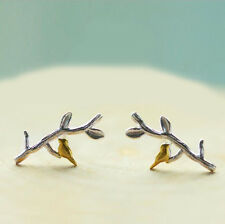 Sweet Fashion Bird in Branch 925 Silver Plated Lady All_match Stud Earrings