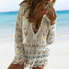 Summer Women Sexy Swimsuit Lace Crochet Bikini Cover Up Swimwear Beach Dress