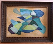 Large Vintage Mid Century Abstract Cubist Hard Edge Oil Painting Modern