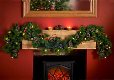 XMAS 6FT pre lit Garland with pine cones & red berries christmas garland .