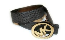 Michael Kors Synthetic Leather Belt, Chocolate, Gold Large Buckle, Size: S