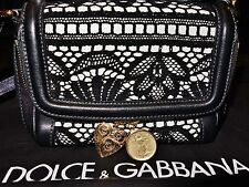 D&G GENUINE Dolce & Gabbana Black & Cream VSMALL Handbag with Crochet Overlay