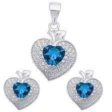 Blue Sapphire Heart & Pave Cz .925 Sterling Silver Earring & Pendant Jewelry set