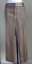 Limited Houndstooth Cropped Pants 12 Gold Gray Satin Cassidy Fit