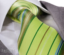 NEW ITALIAN DESIGNER LIME GREEN STRIPE SILK TIE