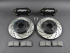 Wilwood DPHA Front Brake Calipers Drilled Slotted Rotor Kit Black 92-00 Civic EX