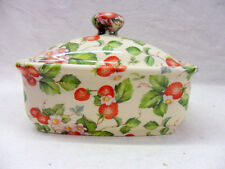 small strawberry vintage chintz design butterdish by Heron Cross Pottery