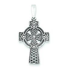 Ladies .925 Sterling Silver Polished & Antique Celtic Cross Pendant For Necklace