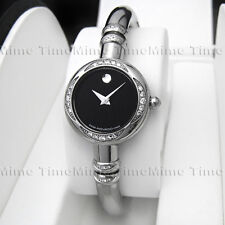 Women's Movado BARELETO Diamond Black Dial Bangle Swiss Quartz Watch 0605496