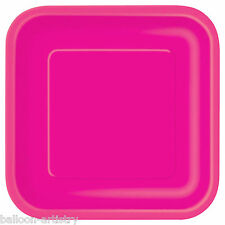 "28 SQUARE 9"" Disposable PAPER Party Plates HOT PINK"