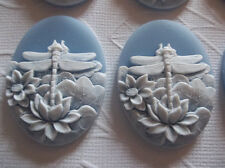White Dragonfly & Lotus Flowers on Blue Cameo - 40 X 30mm Resin Cabochons Qty 6