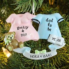 DAD TO BE MOM TO BE We're Expecting New Baby Personalized Christmas Ornament