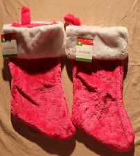 2-SET HOT PINK PLUSH CHRISMAS STOCKINGS Girls Women Holiday Decoration Kids NEW