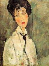 AMEDEO MODIGLIANI PORTRAIT WOMAN WITH A BLACK TIE OLD ART PAINTING PRINT 161OMA